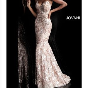 A champagne Jovani cocktail, formal, gown